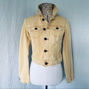 Free People Distressed Yellow Jean Jacket